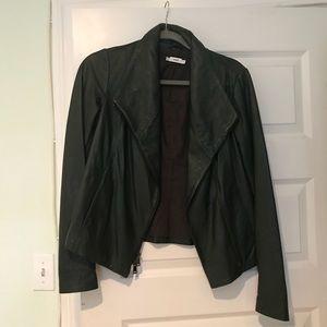 Vince Scuba Leather Jacket Green Sz M